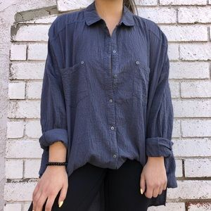 Free people navy blue button up blouse